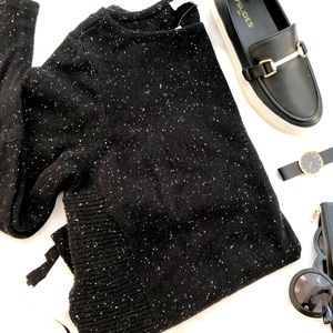Black Speckled Mixed Media Sweater